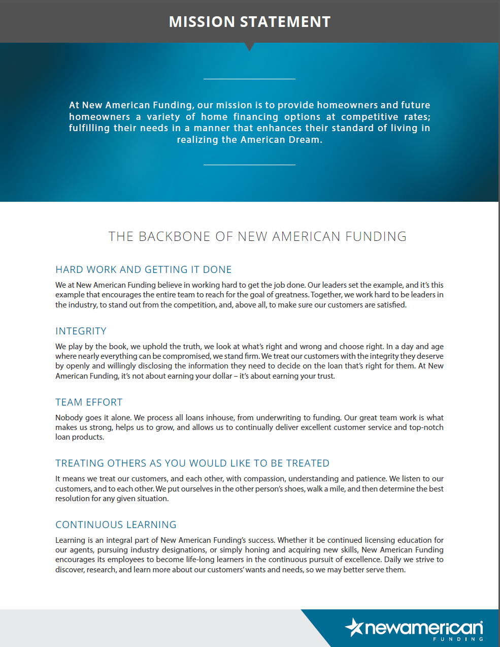 New American Funding - Mission Statement